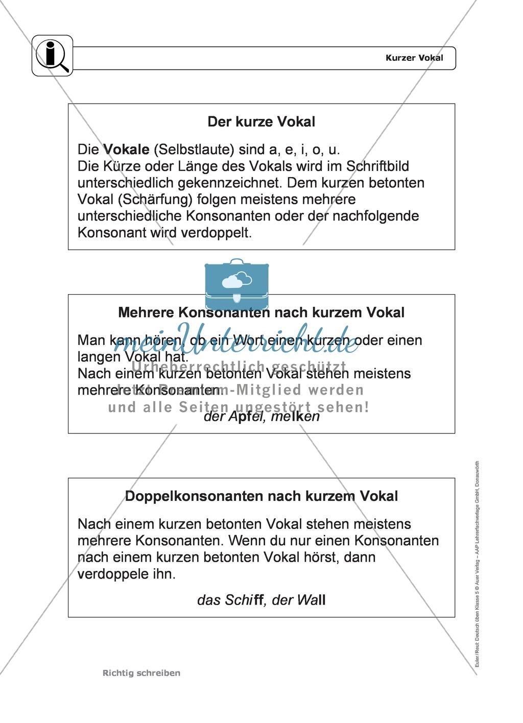 Rechtschreibung, kurzer Vokal: Regeln, Arbeitsblätter und Lösungen ...