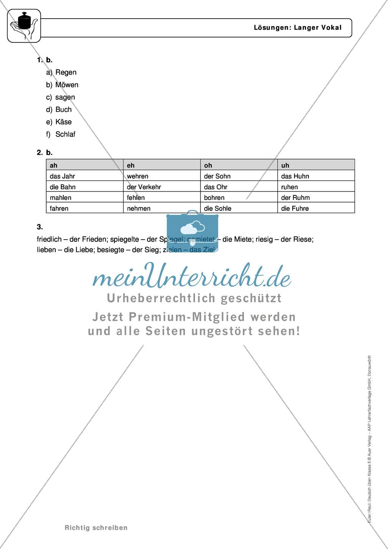 Rechtschreibung: Langer Vokal: Regeln, Arbeitsblätter und Lösungen ...
