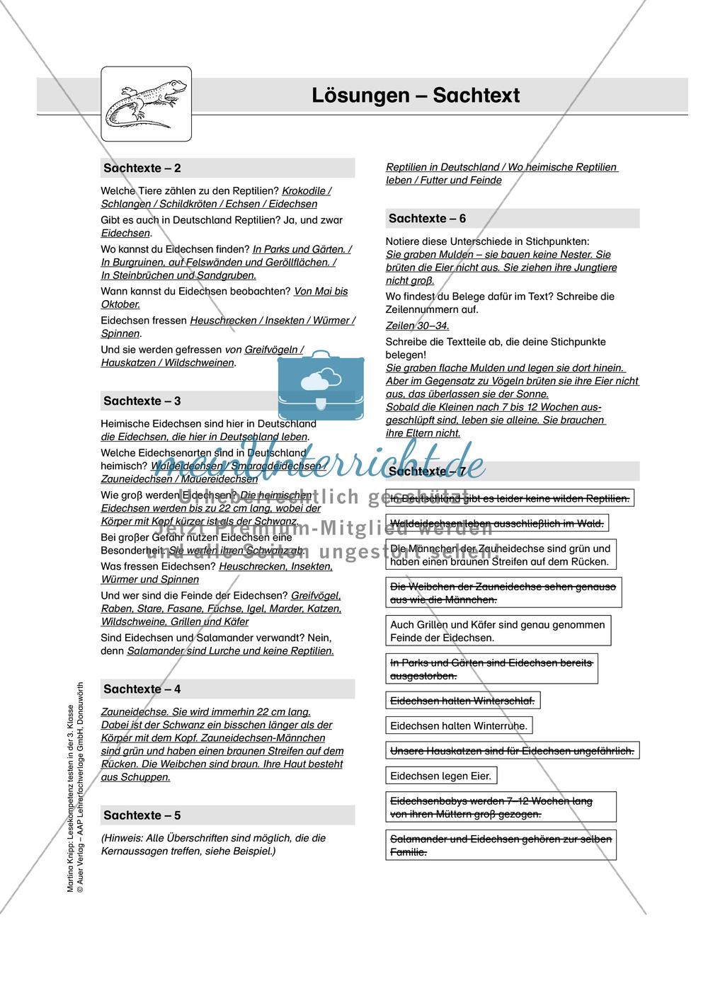 Lesekompetenz testen: Sachtext: Wichtige Hinweise für die Lehrer, Übungen und Lösungen Preview 14