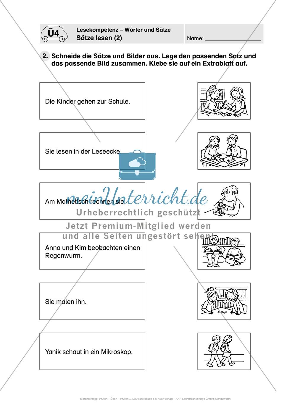 Lesekompetenz - Wörter und Sätze: Vorwort, Führerschein, Übungen und Tests Preview 15