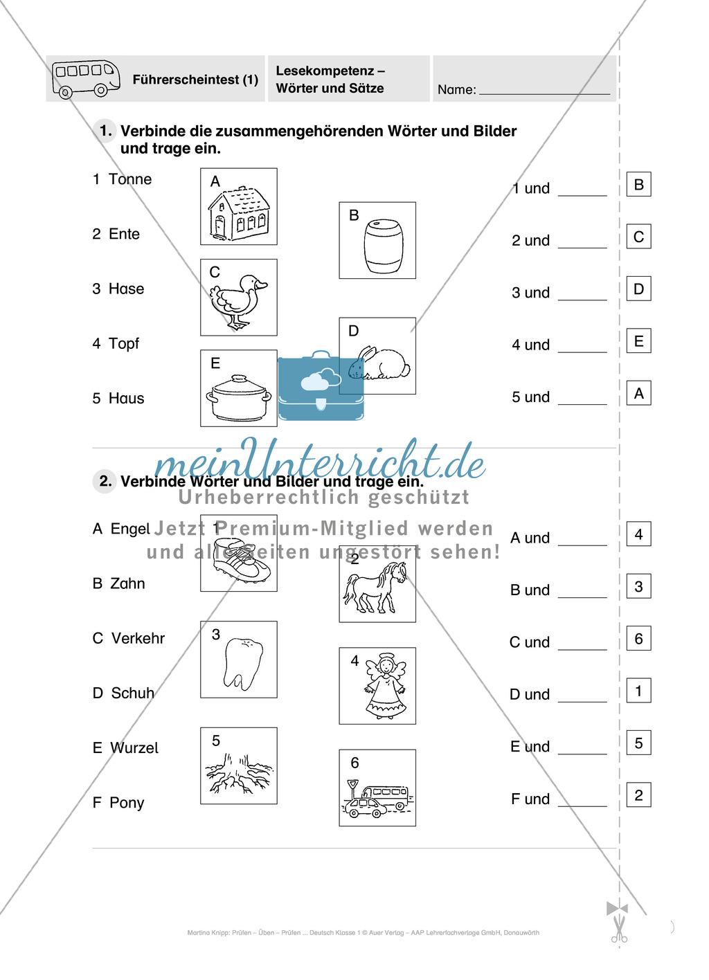 Lesekompetenz - Wörter und Sätze: Vorwort, Führerschein, Übungen und Tests Preview 19