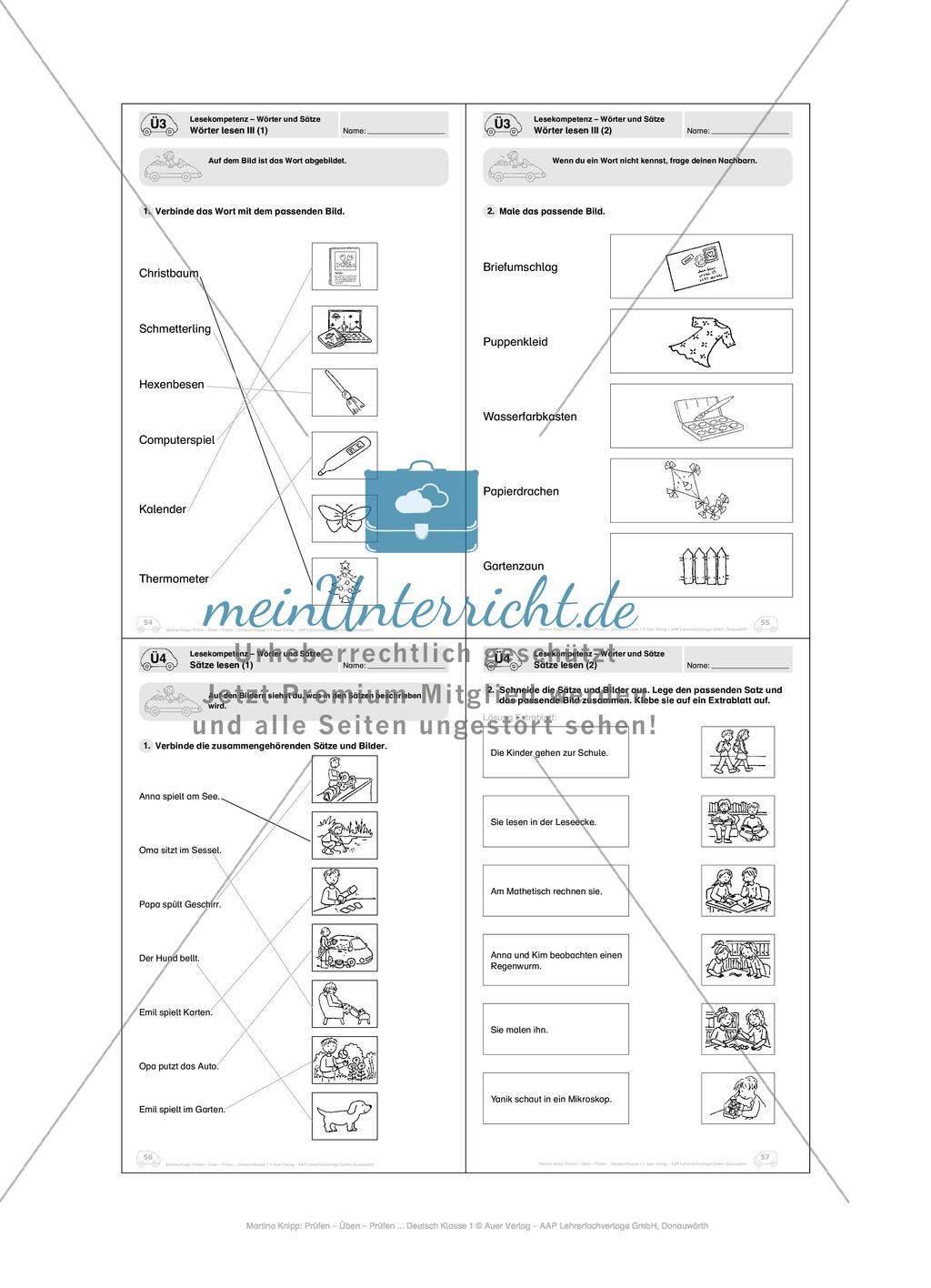 Lesekompetenz - Wörter und Sätze: Vorwort, Führerschein, Übungen und Tests Preview 23