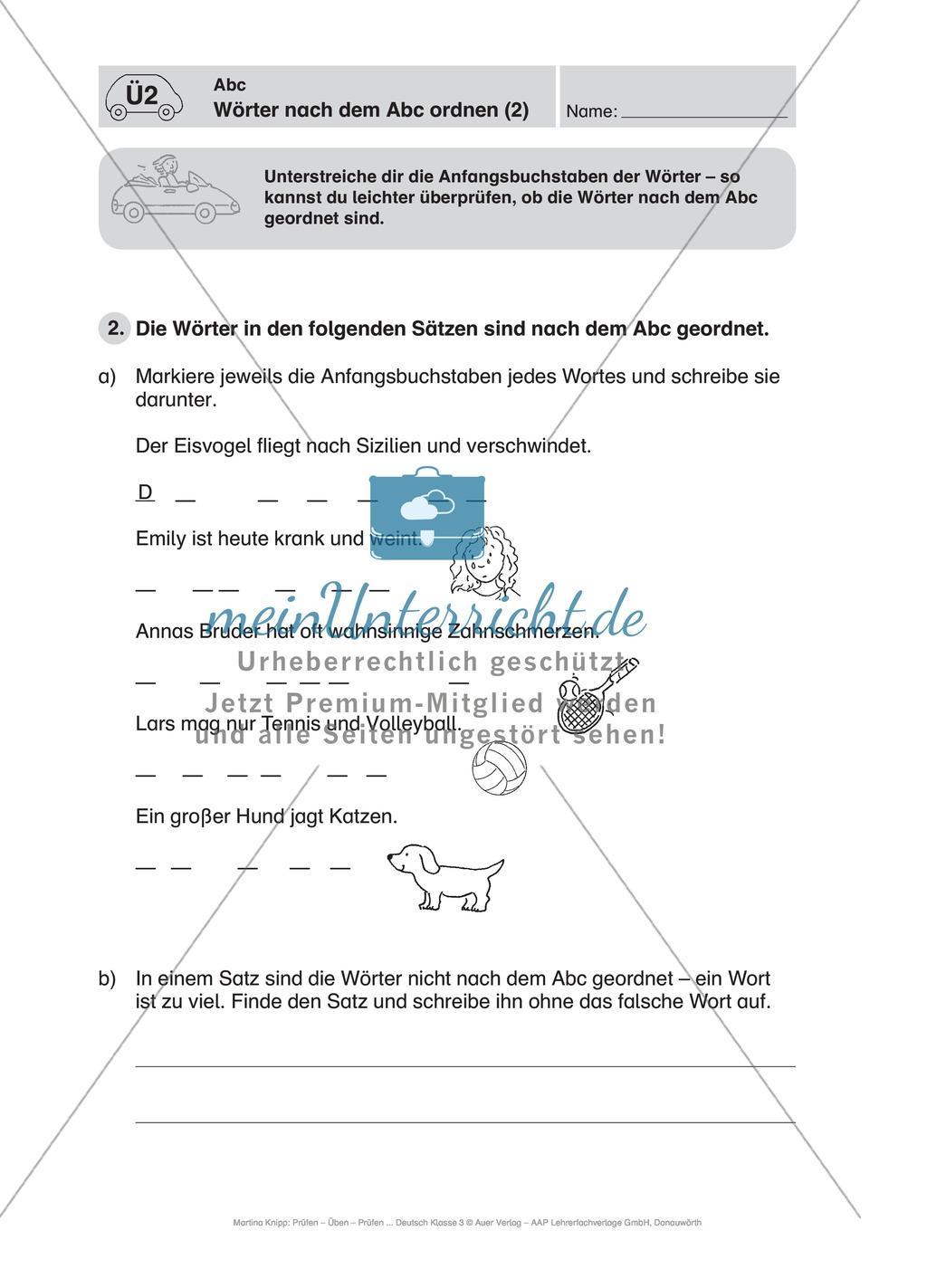Wörter alphabetisch ordnen: Führerschein-Übungsaufgaben und Lösung ...