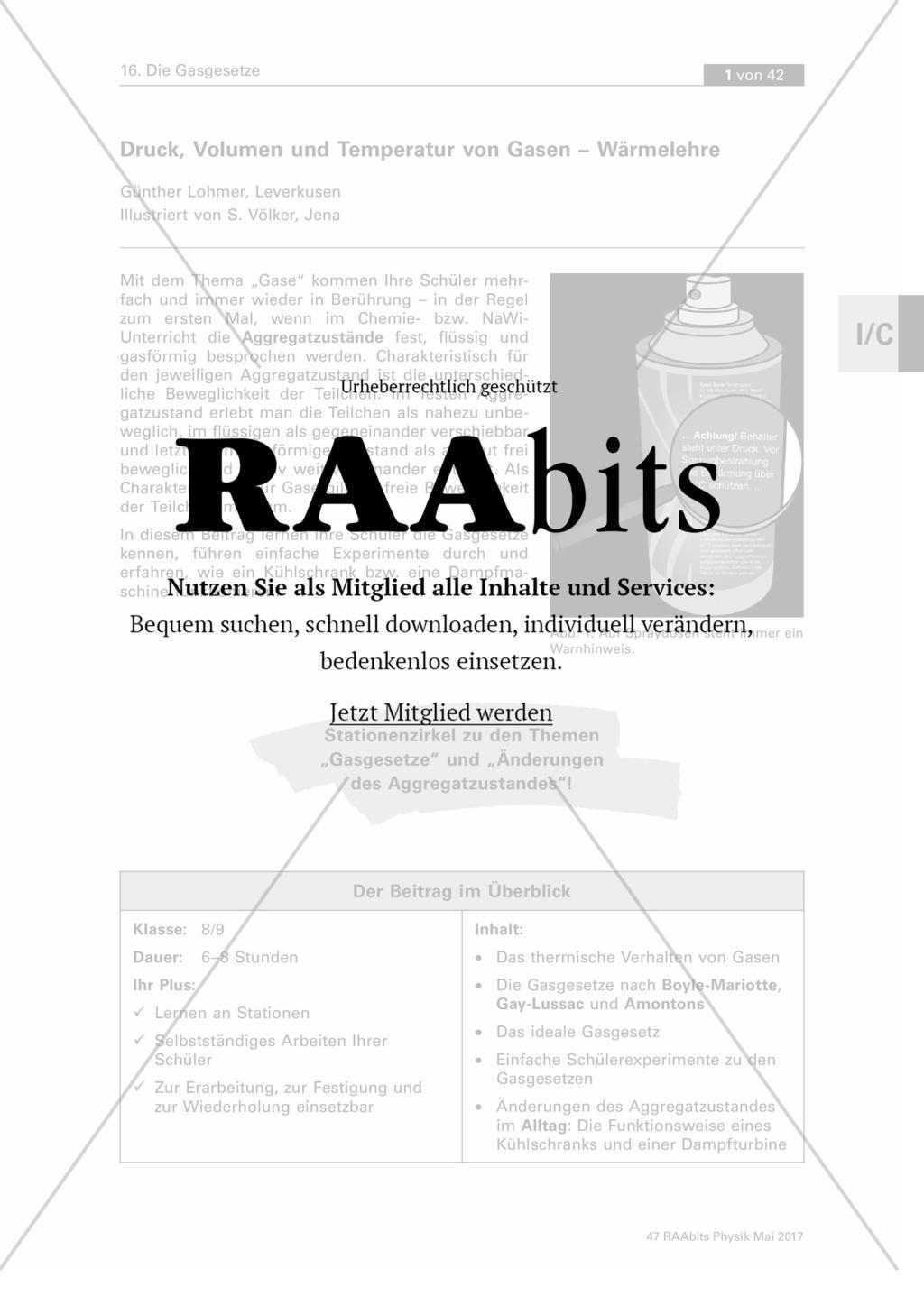 Druck, Volumen und Temperatur von Gasen – Wärmelehre – RAAbits ...