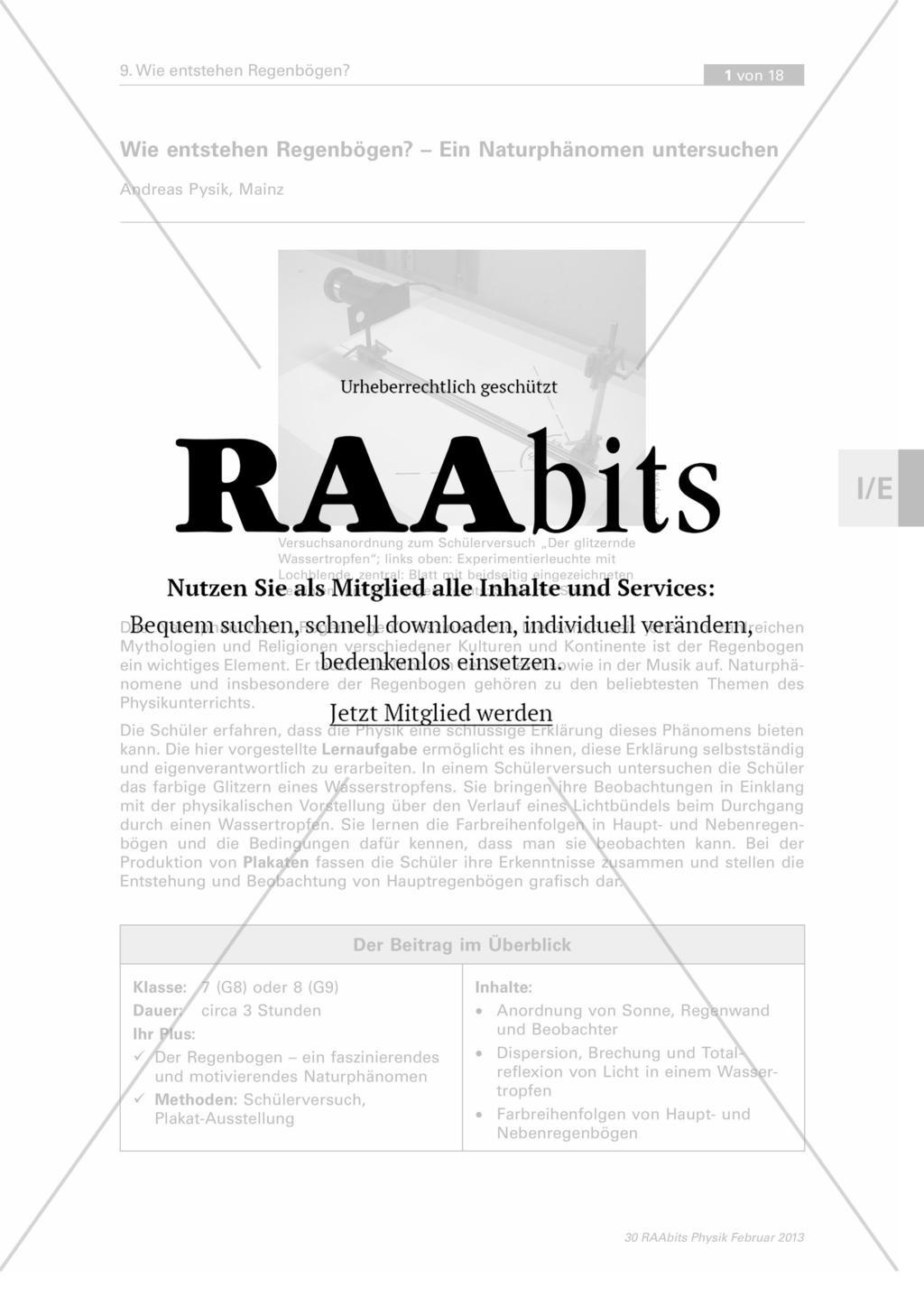 Wie entstehen Regenbögen? – Ein Naturphänomen untersuchen – RAAbits ...