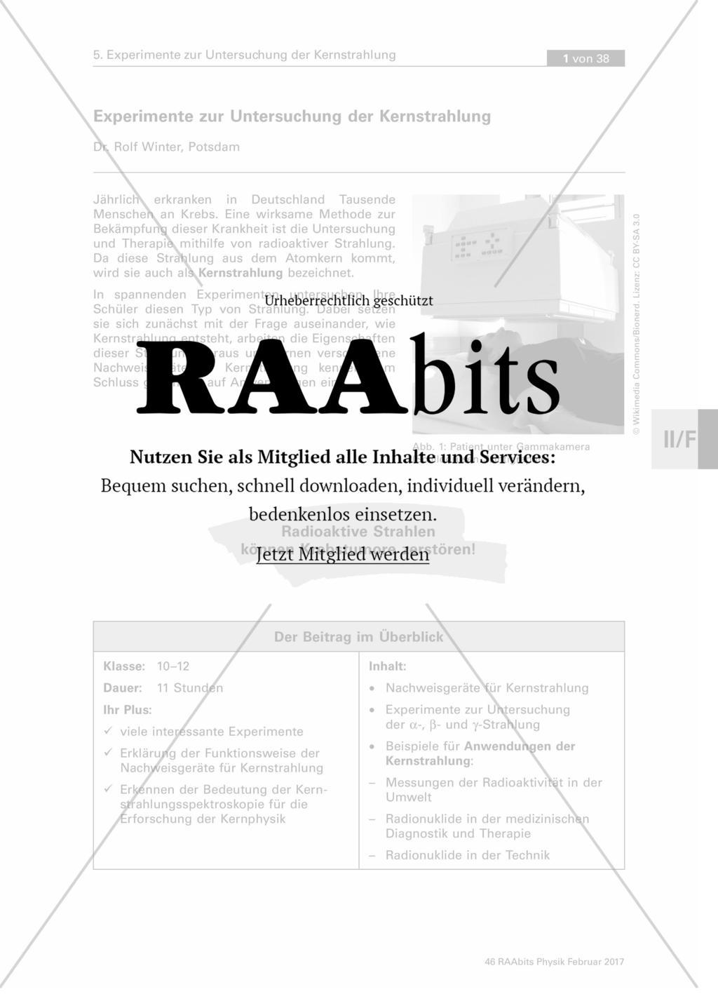 Experimente zur Untersuchung der Kernstrahlung – RAAbits Physik online