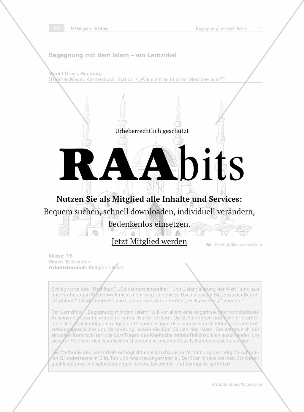 Begegnungen mit dem Islam - ein Lernzirkel – RAAbits Ethik online