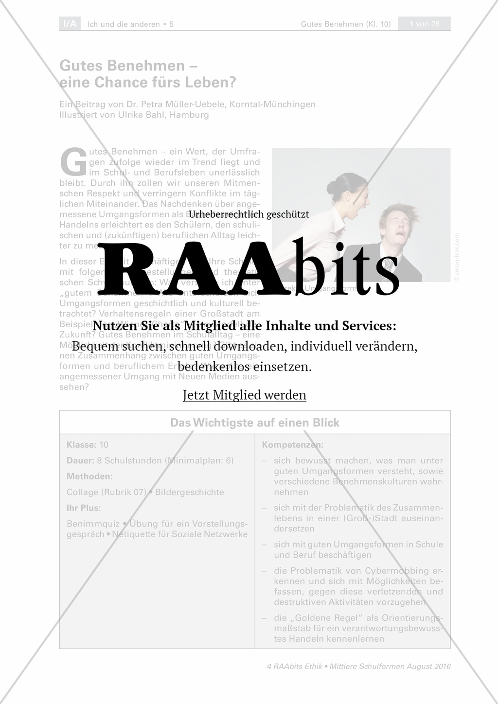 Gutes Benehmen - eine Chance fürs Leben? – RAAbits Ethik online