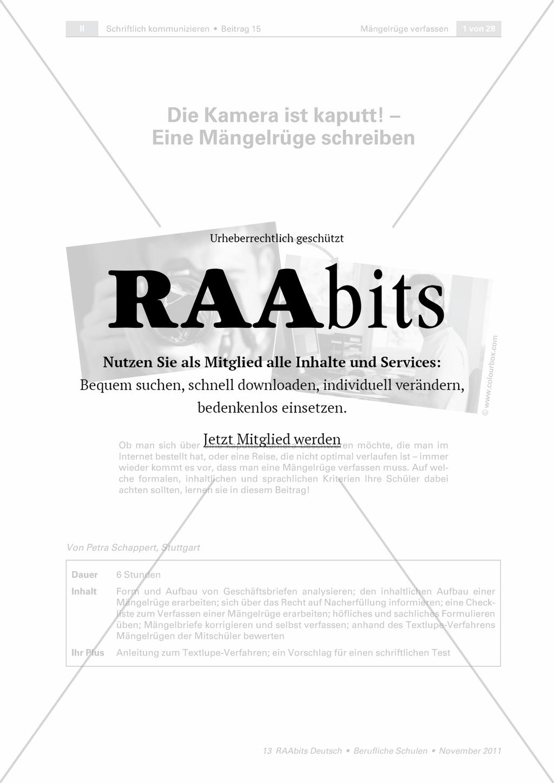 Die Kamera Ist Kaputt Eine Mängelrüge Schreiben Raabits Deutsch