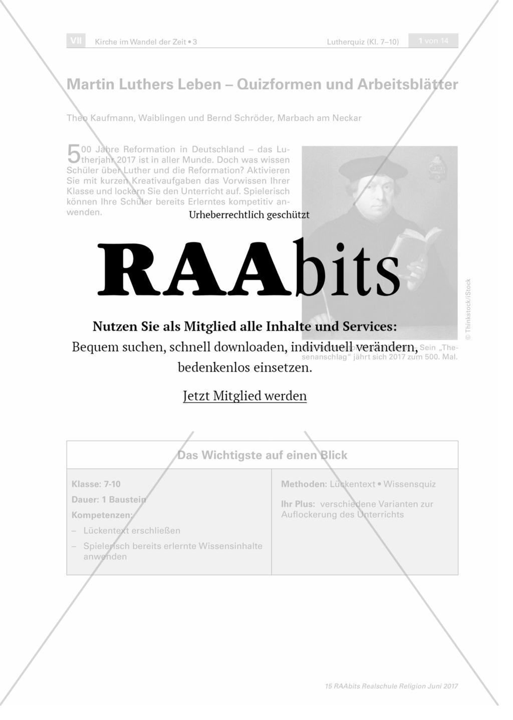 Martin Luthers Leben – Quizformen und Arbeitsblätter – RAAbits Religion