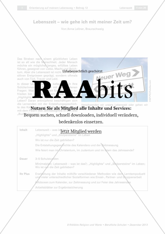 Lebenszeit – wie gehe ich mit meiner Zeit um? – RAAbits Religion