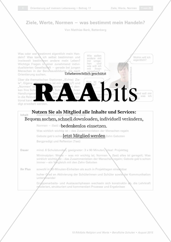 Ziele, Werte, Normen − was bestimmt mein Handeln? – RAAbits Religion