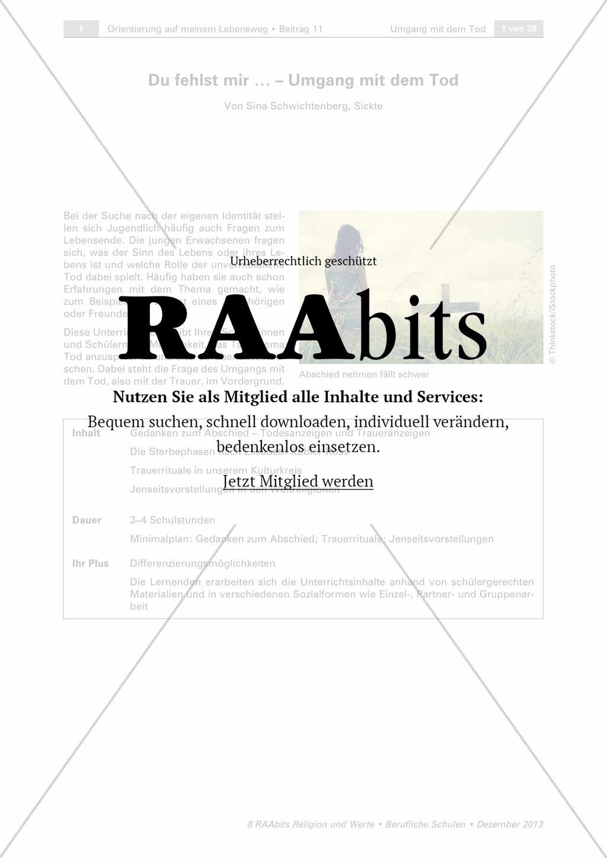 Du fehlst mir … – Umgang mit dem Tod – RAAbits Religion