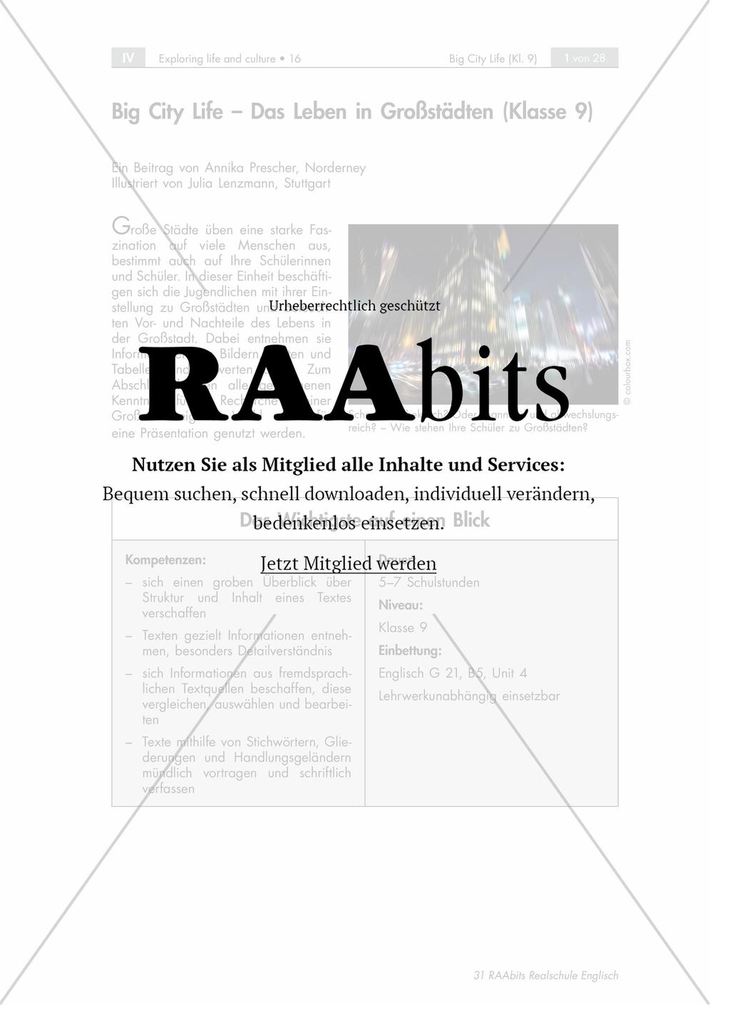 Big City Life – Das Leben in Großstädten – RAAbits Englisch online
