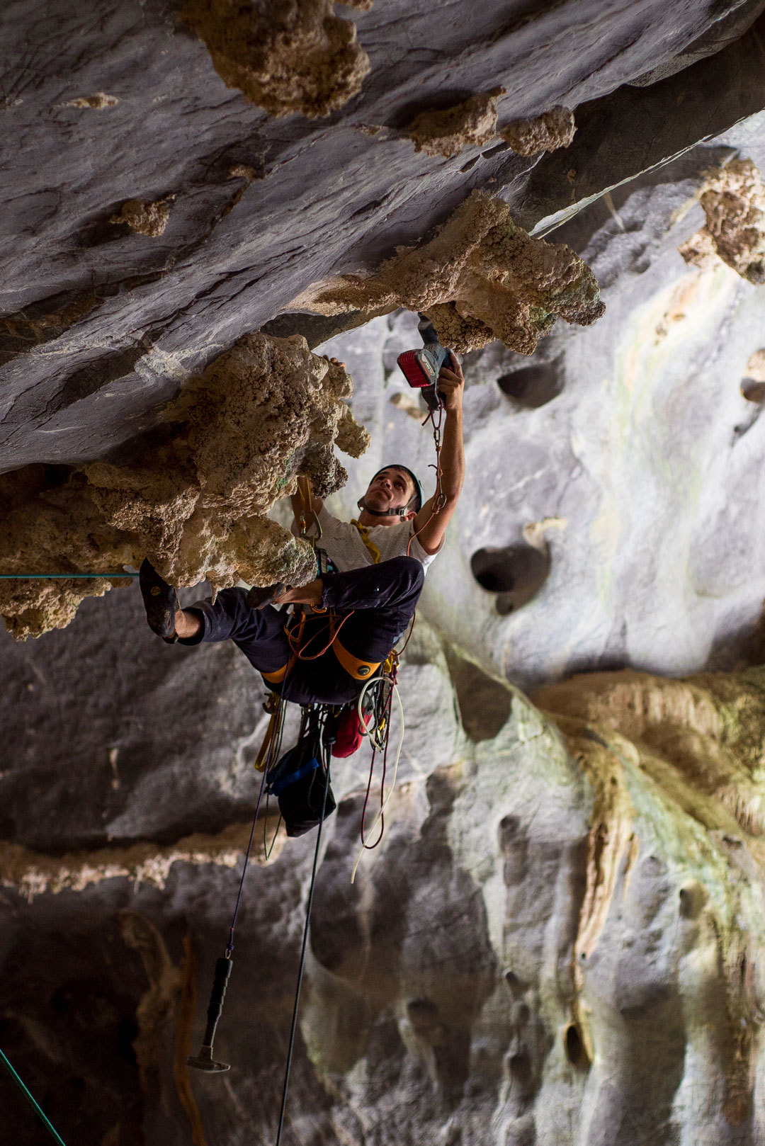 Tito bolting a still-undone 5.14 Photo: Cameron Maier