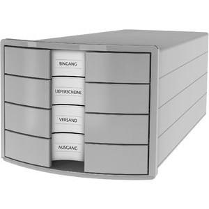 Schubladenbox IMPULS, m.4 geschl.Schubladen, A4/C4, lichtgrau