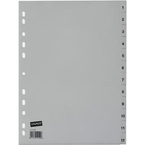 Register, PP, 0,12 mm, 1-12, Eurolochung, A4, 12 Blatt, grau