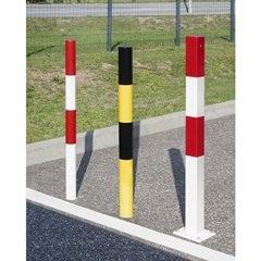 Sperrpfosten aus Stahlrohr, zum Einbetonieren, rund, Ø 76 mm, rot / weiß, verzin