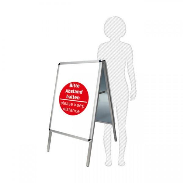 Kundenstopper mit Plakaten – Bitte Abstand halten