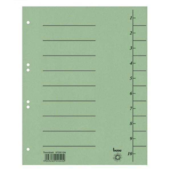 Bene Trennblatt 97300GN DIN A4 Karton grün