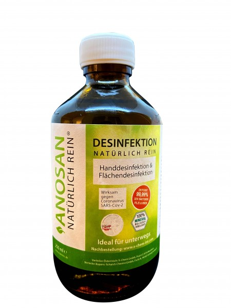 ANOSAN NATÜRLICH REIN® - 250 ml Glasflasche Haut- & Flächendesinfektion