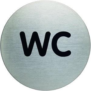 Schild PICTO, WC, selbstklebend, Edelstahl, rund, Ø: 83mm, silber
