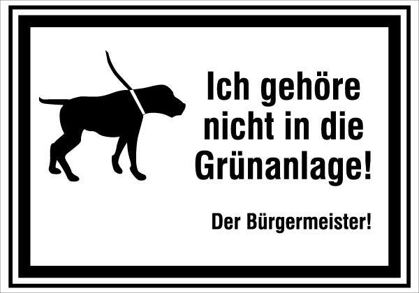 Hundetafel | flaches Verkehrszeichen