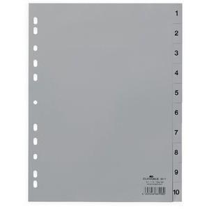 Register, PP, 1 - 10, Universallochung, A4 hoch, volle Höhe, grau