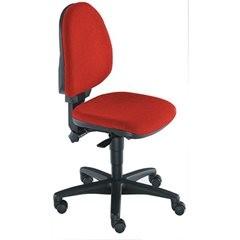 Standard-Drehstuhl, ohne Armlehnen, Rückenlehne 450 mm, Stoff rot, Gestell schwa