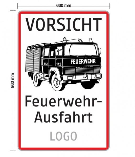 Feuerwehrausfahrt mit Logo 630x960mm