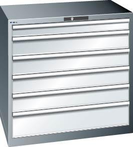 Schubladenschrank grau H1000, 6 Schubl. 14.515.020
