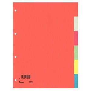 Register, Karton (RC), blanko, 4fach Lochung, A4, volle Höhe, 6 Blatt