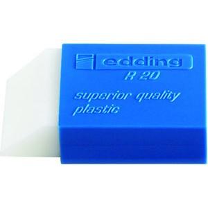 Radierer, R20, rechte., Kst., für: Bleistifte, 44x24x11,5mm, weiß