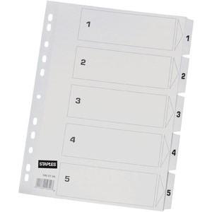 Register, Karton, 170 g/m², 1-5, Eurolochung, A4, 5 Blatt, weiß