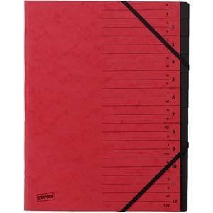 Ordnungsmappe, Karton, Eckspanngummi, A4, 12 Fächer, rot