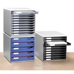 Ablagebox, Post- und Formular-Set, Gehäuse grau, Schubladen schwarz, 10 Schublad
