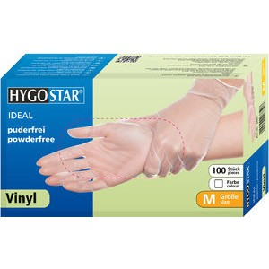 Handschuh IDEAL, Vinyl, puderfrei, Größe: M, weiß, transparent