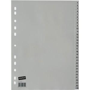Register, PP, 0,12 mm, 1-31, Eurolochung, A4, 31 Blatt, grau