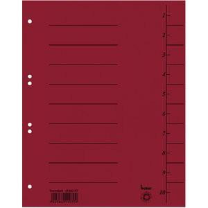 Trennblatt, Karton (RC), 250 g/m², 1-10, A4, rot