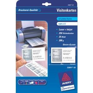 Visitenkarte Quick&Clean™, I/L/K, 200g/m², 85x54mm, weiß, matt