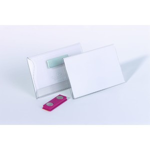 Namensschild, mit: Magnet, Hartfolie, 90 x 54 mm, transparent