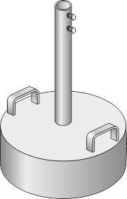 Betonsockel VB1 500mm für Rohr dm 60mm  mit verzinkten Haltegriffen und Fixierschraube