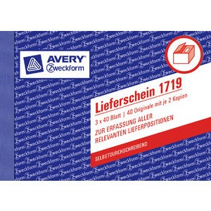 Lieferschein, A6 quer, 3fach, sd, 1./2./3.Bl.bedr., we/gb/rs, 3x40Bl.