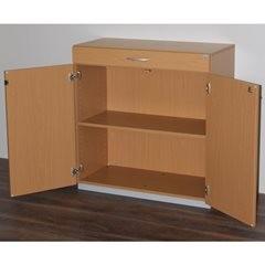 Geräteschrank mit Sortiertisch, HxBxT 942 x 913 x 440 mm, abschließbar, Buche-De