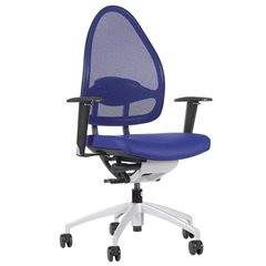 Design-Bürodrehstuhl, mit Netzrücken, Rückenlehne 550 mm, royalblau.