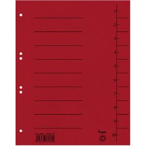 Trennblatt Intensiv, Karton, 210 g/m², 1-10, A4, rot