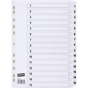 Register, Karton, 170 g/m², 1-15, Eurolochung, A4, 15 Blatt, weiß