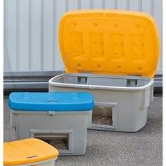 Universal- und Streugutbehälter, 400 l, mit Entnahmeöffnung, Deckel orange.