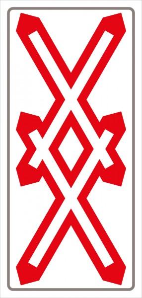 §50/6d Andreaskreuz mehrgleisig als Tafel