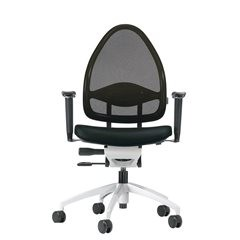 Design-Bürodrehstuhl, mit Netzrücken, Rückenlehne 550 mm, schwarz.